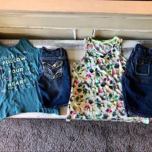 Girls 2 Outfits Lot - 2 Shirts & 2 Shorts XL 14/16